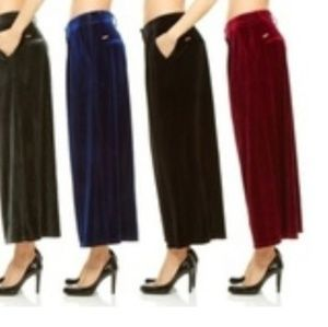 Red Jeans NYC Stretch Velvet Palazzo Pants